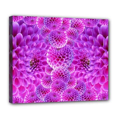Purple Dahlias Deluxe Canvas 24  X 20  (framed) by FunWithFibro