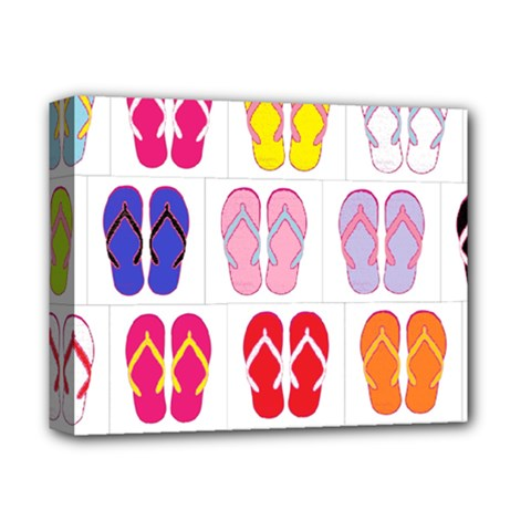 Flip Flop Collage Deluxe Canvas 14  X 11  (framed) by StuffOrSomething