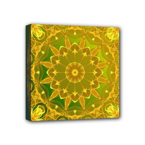 Yellow Green Abstract Wheel Of Fire Mini Canvas 4  X 4  (framed) by DianeClancy