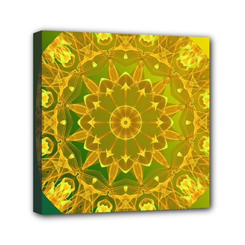 Yellow Green Abstract Wheel Of Fire Mini Canvas 6  X 6  (framed) by DianeClancy
