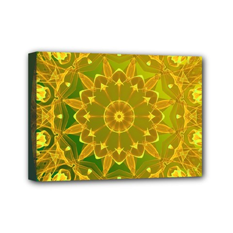 Yellow Green Abstract Wheel Of Fire Mini Canvas 7  X 5  (framed) by DianeClancy