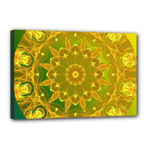 Yellow Green Abstract Wheel Of Fire Canvas 18  X 12  (framed)