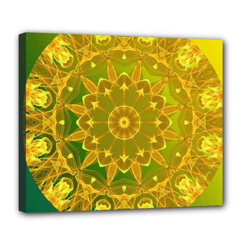 Yellow Green Abstract Wheel Of Fire Deluxe Canvas 24  X 20  (framed)