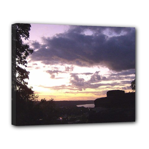 Sunset Over The Valley Canvas 14  X 11  (framed) by Majesticmountain