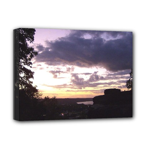 Sunset Over The Valley Deluxe Canvas 16  X 12  (framed)  by Majesticmountain