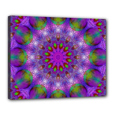 Rainbow At Dusk, Abstract Star Of Light Canvas 20  X 16  (framed) by DianeClancy