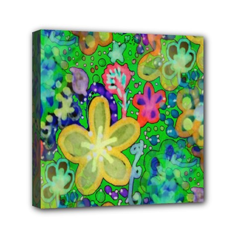 Beautiful Flower Power Batik Mini Canvas 6  X 6  (framed)