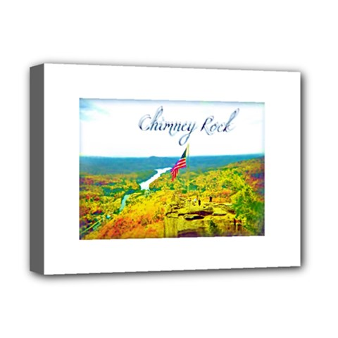 Chimney Rock Overlook Air Brushed Deluxe Canvas 16  X 12  (framed)  by Majesticmountain