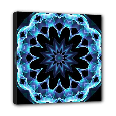 Crystal Star, Abstract Glowing Blue Mandala Mini Canvas 8  X 8  (framed) by DianeClancy