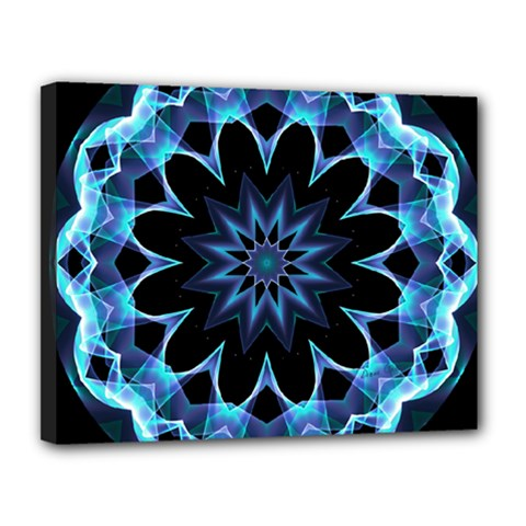 Crystal Star, Abstract Glowing Blue Mandala Canvas 14  X 11  (framed) by DianeClancy
