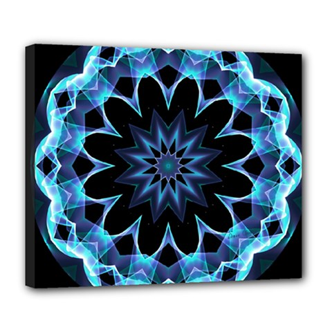 Crystal Star, Abstract Glowing Blue Mandala Deluxe Canvas 24  X 20  (framed) by DianeClancy