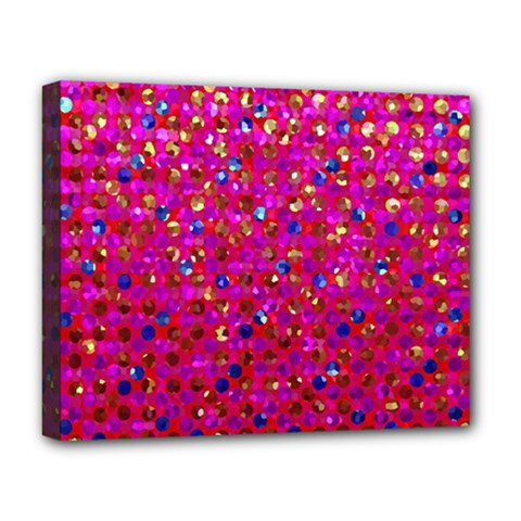 Polka Dot Sparkley Jewels 1 Deluxe Canvas 20  X 16  (framed) by MedusArt