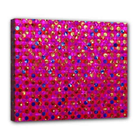 Polka Dot Sparkley Jewels 1 Deluxe Canvas 24  X 20  (framed) by MedusArt