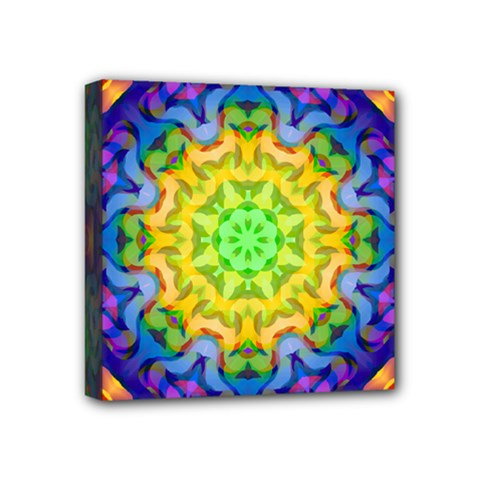 Psychedelic Abstract Mini Canvas 4  X 4  (framed) by Colorfulplayground