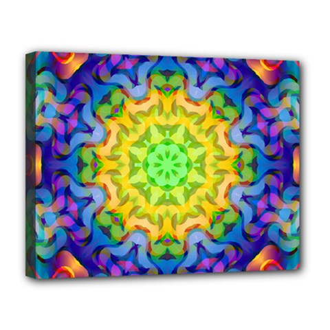 Psychedelic Abstract Canvas 14  X 11  (framed) by Colorfulplayground