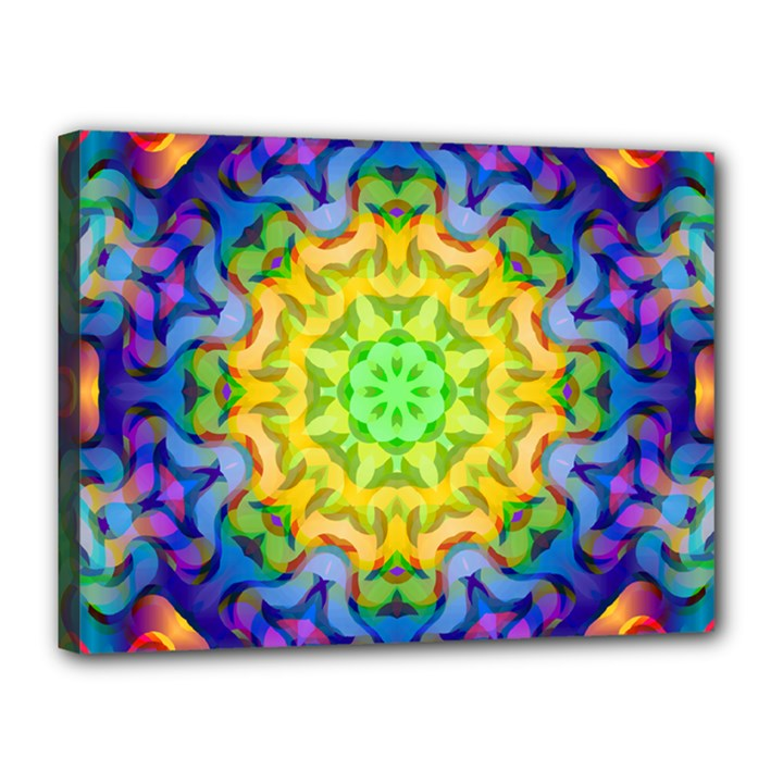 Psychedelic Abstract Canvas 16  x 12  (Framed)