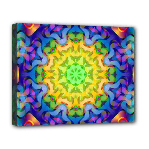 Psychedelic Abstract Deluxe Canvas 20  X 16  (framed) by Colorfulplayground