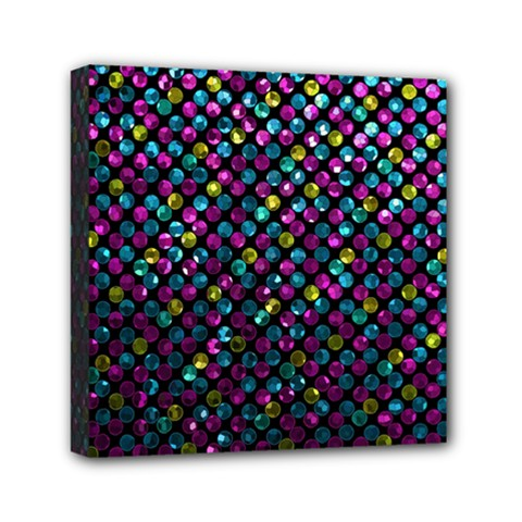 Polka Dot Sparkley Jewels 2 Mini Canvas 6  X 6  (framed) by MedusArt