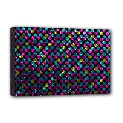 Polka Dot Sparkley Jewels 2 Deluxe Canvas 18  X 12  (framed) by MedusArt