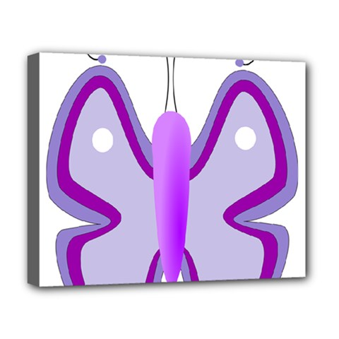 Cute Awareness Butterfly Deluxe Canvas 20  X 16  (framed) by FunWithFibro