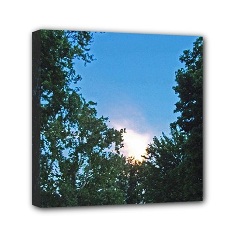 Coming Sunset Accented Edges Mini Canvas 6  X 6  (framed) by Majesticmountain