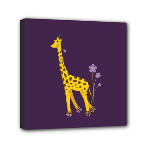 Purple Roller Skating Cute Cartoon Giraffe Mini Canvas 6  X 6  (framed) by CreaturesStore