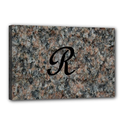 Pink And Black Mica Letter R Canvas 18  X 12  (framed) by Khoncepts