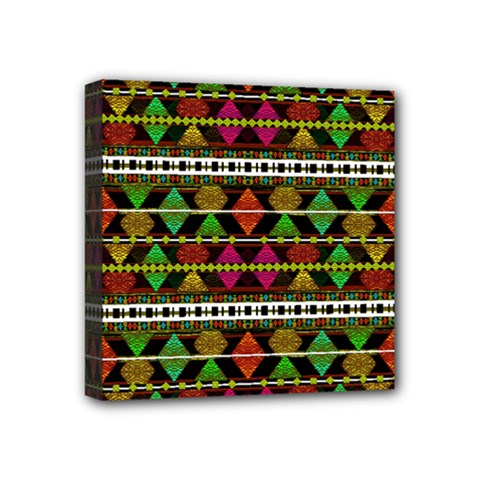 Aztec Style Pattern Mini Canvas 4  X 4  (framed) by dflcprints