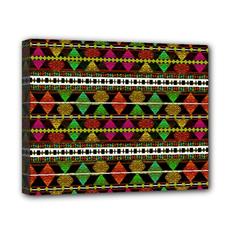 Aztec Style Pattern Canvas 10  X 8  (framed) by dflcprints