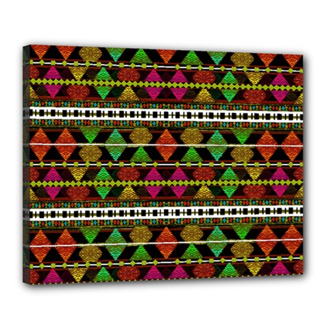 Aztec Style Pattern Canvas 20  X 16  (framed) by dflcprints