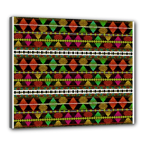 Aztec Style Pattern Canvas 24  X 20  (framed) by dflcprints