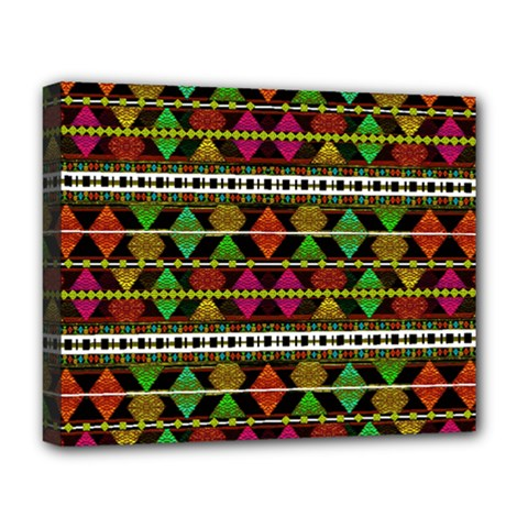 Aztec Style Pattern Deluxe Canvas 20  X 16  (framed)