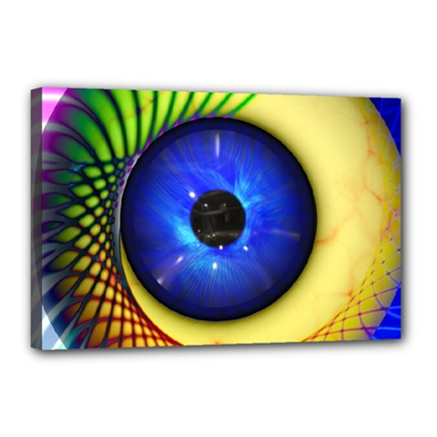 Eerie Psychedelic Eye Canvas 18  X 12  (framed) by StuffOrSomething
