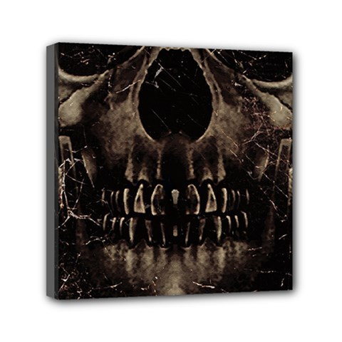 Skull Poster Background Mini Canvas 6  X 6  (framed) by dflcprints