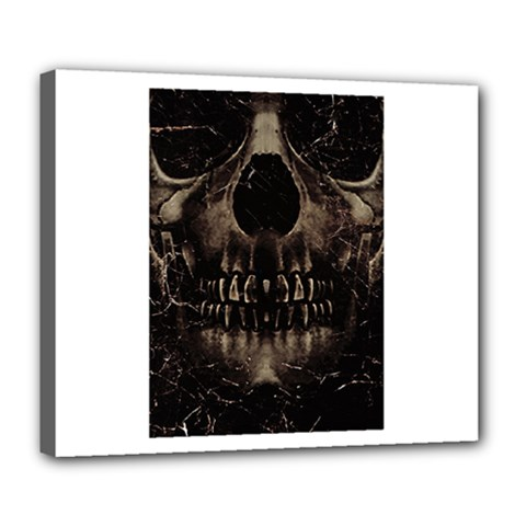 Skull Poster Background Deluxe Canvas 24  X 20  (framed) by dflcprints