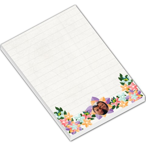 Pastel Flower Boarder Large Memo Pad Lined Paper By Kim Blair   Large Memo Pads   L7azd6196wfu   Www Artscow Com