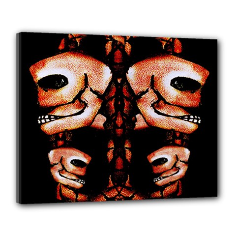 Skull Motif Ornament Canvas 20  X 16  (framed) by dflcprints