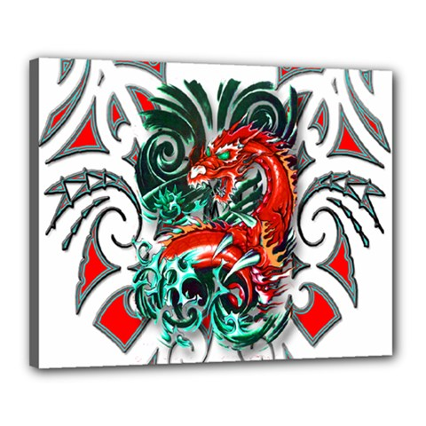Tribal Dragon Canvas 20  X 16  (framed) by TheWowFactor