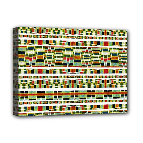 Aztec Grunge Pattern Deluxe Canvas 16  X 12  (framed)  by dflcprints