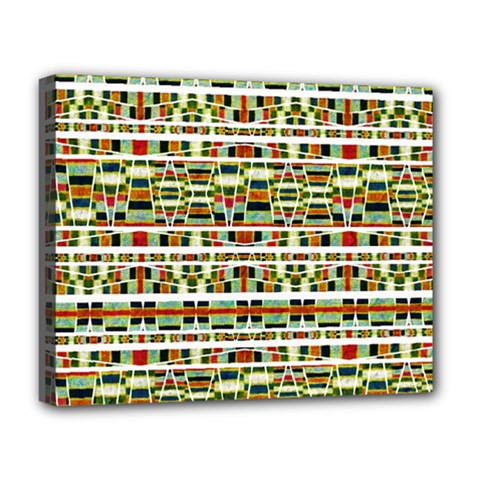 Aztec Grunge Pattern Deluxe Canvas 20  X 16  (framed) by dflcprints