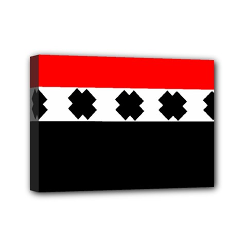 Red, White And Black With X s Design By Celeste Khoncepts Mini Canvas 7  X 5  (framed) by Khoncepts