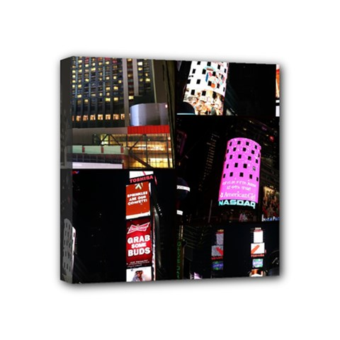 New York City at Night Mini Canvas 4  x 4  (Framed) by stineshop