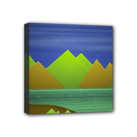 Landscape  Illustration Mini Canvas 4  X 4  (framed)
