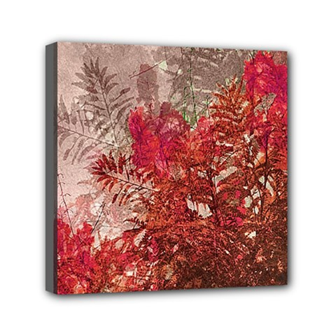 Decorative Flowers Collage Mini Canvas 6  X 6  (framed) by dflcprints