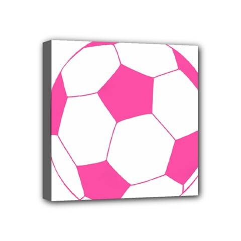 Soccer Ball Pink Mini Canvas 4  X 4  (framed) by Designsbyalex