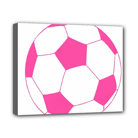 Soccer Ball Pink Canvas 10  X 8  (framed) by Designsbyalex