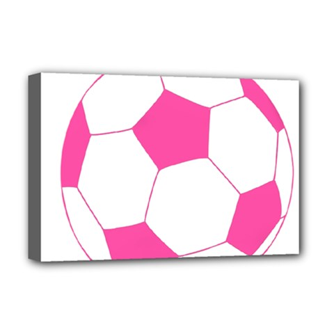 Soccer Ball Pink Deluxe Canvas 18  X 12  (framed) by Designsbyalex