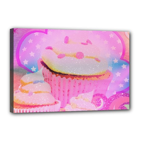 Cupcakes Covered In Sparkly Sugar Canvas 18  X 12  (framed) by StuffOrSomething
