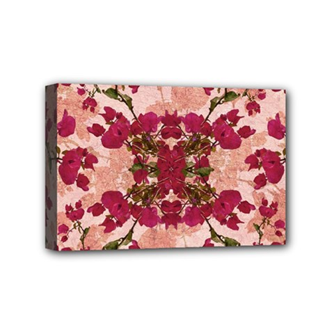 Retro Vintage Floral Motif Mini Canvas 6  X 4  (framed) by dflcprints