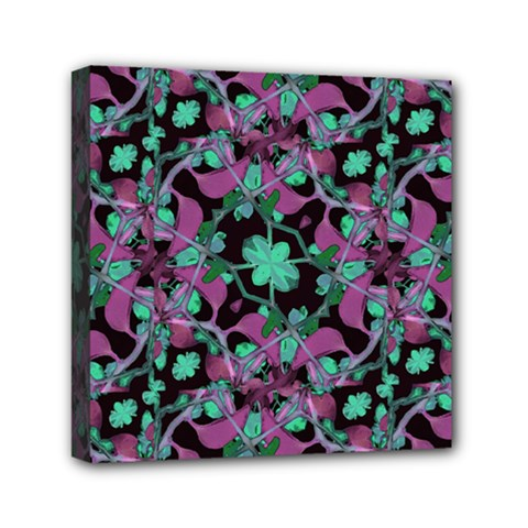 Floral Arabesque Pattern Mini Canvas 6  X 6  (framed) by dflcprints